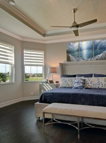 Motorized Double Roller Shades by Coullisse, Art Work on Canvas by Chris Fay in a Master Bedroom