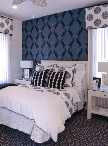 Blue & White Contemporary Color Scheme, Custom Cornice, Sheers,Bedding, Blue Thibaut Wallpaper