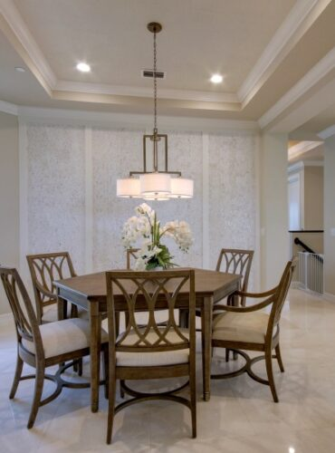 Natural Cork Wallcovering in White Color by Candice Olson for Accent Wall in Dining Room