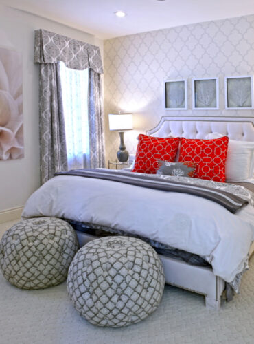 Interior Design by Paperworks Plus featuring Custom Bedding and Drapery