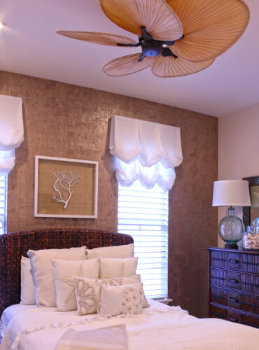 Custom Made Balloon Valance, Natural Cork Wall Covering by York
