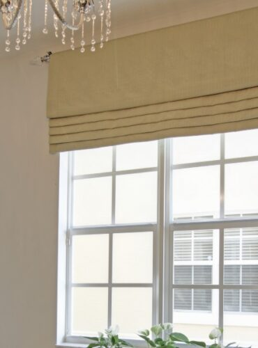 Custom Made Flat Roman Valance on Metallic Drapery Rod with Crystal Finials