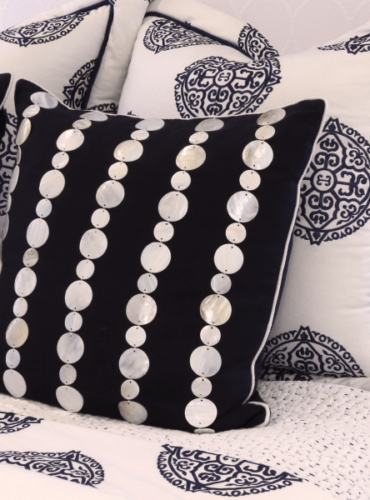 Custom Made Pillows with Natural Pearl Trim