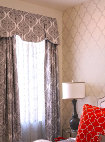 Custom Made Pleated Valance, Drapery Panels, Sheers, Bedding, Wallpaper with Silver Trellis by Thibaut