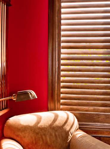 Natural Dark Wood Shutters by Hunter Douglas for Study