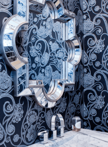 Dramatic Shimmering Details Black Dotted Paisley Wallpaper by Candice Olson