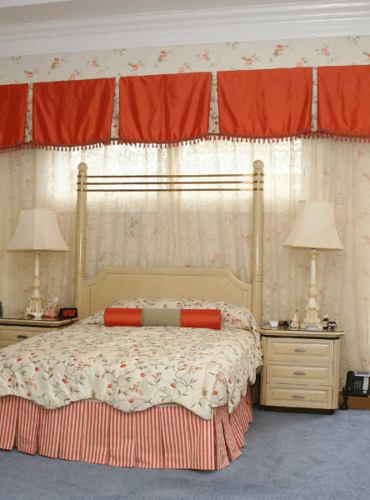 Custom Made Silk Valance, Pleated, Drapery Panels, Bedding: Embroidered Bedspread, Pillows
