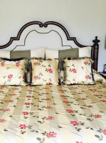 Custom Bedding, Bedspread with Embroidered fabric with Matching Pillows