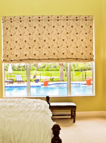 Custom Flat Roman Shades, Fabric by Norbar Fabrics