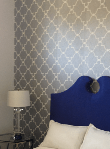 Geometric Silver White Wallpaper with Trellis by Anna French