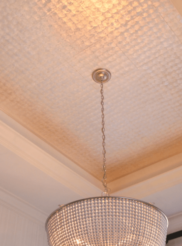 Wallcovering Made from Natural Pearl by Maya Romanoff for Dining Room Ceiling
