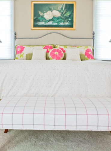Color Coordinated Bedding and Ottoman, Fabrics by Anna French