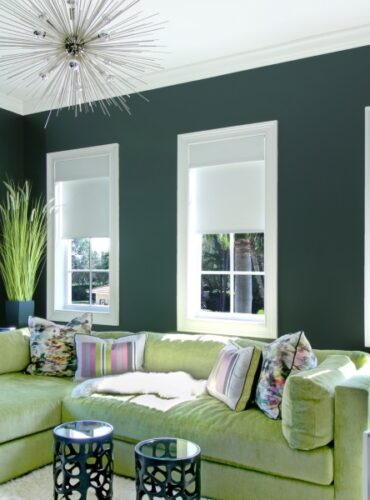 Motorized Roller Shades by Hunter Douglas for a Media Room