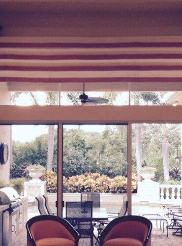 Roman Valance, Grommet Drapery Panels with Natural Linen by Anthology, Real Wood Brimar Drapery Hardware