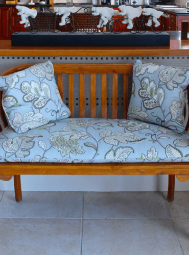 Seat Cushion and Pillows for a Bench, Fabric by Stout