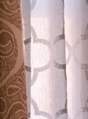 Sheer Draperies with Embroidered Fabric