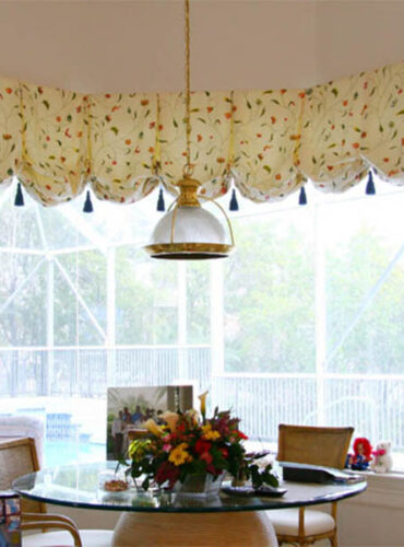 Custom Made Balloon Valance Made with Natural Silk Embroidered Fabric with Silk Tassels