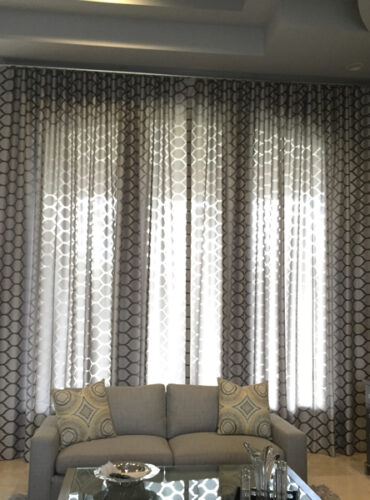 Silver - Black Contemporary Sheer Draperies, Chrome Finish Metallic Traverse Rod