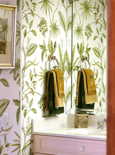 Tropical Design Wallpaper for Powder Room by Thibaut