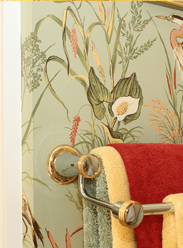 Wallpaper for Master Bath with Birds by Thibaut