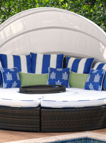 White Outdoor Fabric For Custom Made Cushions with Contrasting Blue-White Trim, All Fabrics from Thibaut