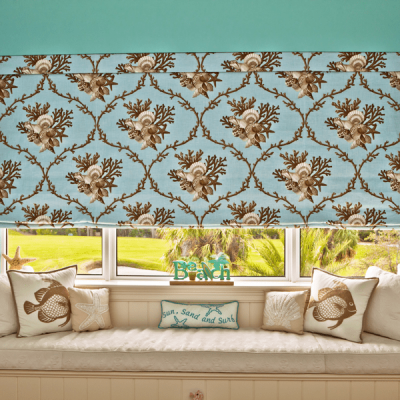 Flat Roman Shade with Fabric by Jaima Brown with Color Coordinated Seat Cushion and Pillows, Fabric by Duralee